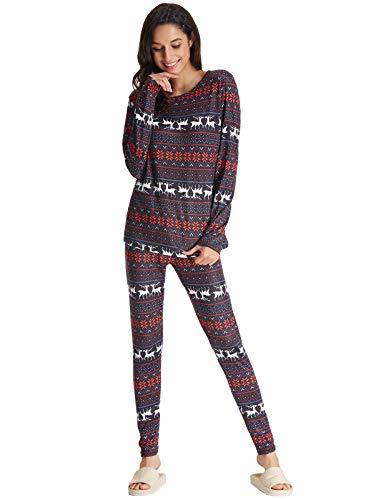 Women's Christmas Pajama Set Holiday Sleepwear Long Sleeve Printed PJ Sets Lounging Sleep Set