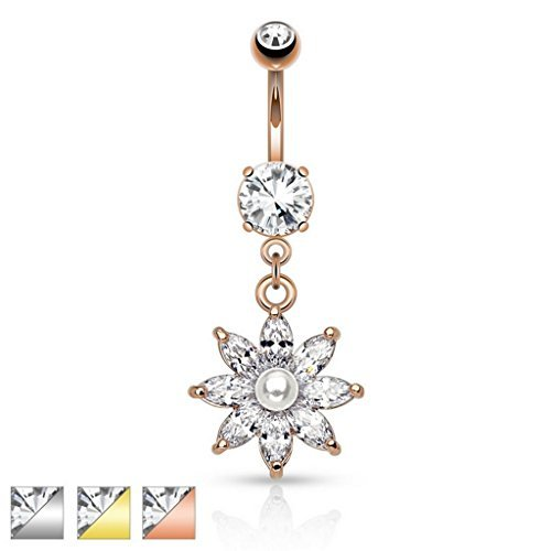 14kt Gold Plated Clear Crystal Marquise Cut Flower with Precious Pearl Centre Belly Bar Piercing Thickness : 1.6mm Length : 10mm