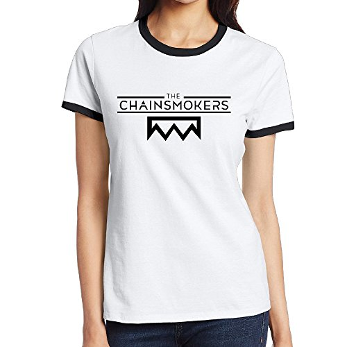 Hanes Baseball Jersey - Hane Sea Women's The Chainsmokers Short Sleeve Neck T-Shirt Contrast Color Black