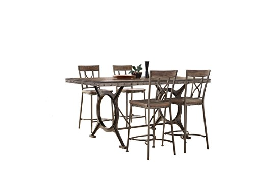 Hillsdale 5987CTBS5 5 Piece Counter Height Dining Set, Brown/Gray