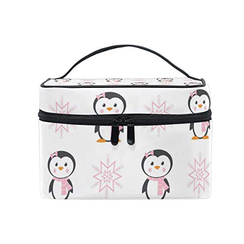 Woman Cute Pink Penguin Travel Makeup Cosmetic Case Storage Bag Organizer Portable Adjustable Dividers for Cosmetics Makeup Brushes Cosmetic Case