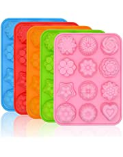 5PCS 12-Cavity Silicone Flower Soap Mold, FULANDL Non Stick Silicone Flower Shape Cake Molds, Baking Pan Ice Cube Trays for Cake, Chocolate, Cupcake, Ice Cube, Muffin and Soap (Multicolor)