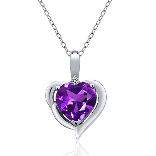 1.42 Ct Heart Shape Purple Amethyst White Diamond 925 Sterling Silver Pendant (Diamond Shape Diamond Pendant)