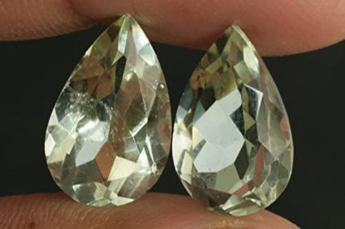 Jewelry Making Matched Earring Pair AG-7873 Gorgeous Genuine Green Amethyst Pair Cabochon Wholesale Price Suppliers Faceted Cut Pear