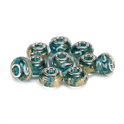 BRCbeads Top Quality 10Pcs Silver Plate Emerald Color Style #2 Murano Lampwork European Glass Crystal Charm Beads Spacers Fit Troll Chamilia Carlo Biagi Zable Snake Chain Charm Bracelets.