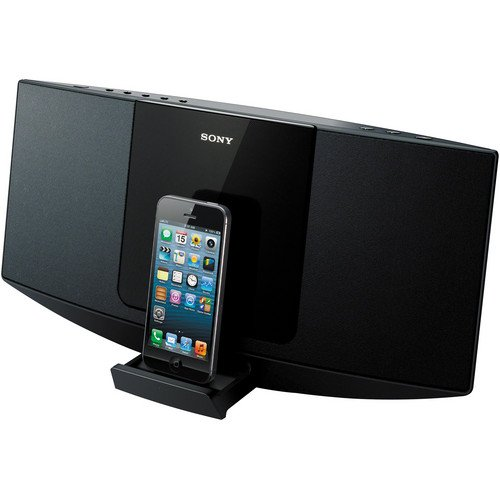 Sony Desktop Music Stereo System with Lightning 8-pin Connector Dock for Iphone 5, Ipod Touch 5th Generation, Ipod Nano 7th Generation, Single Disc CD Player, CD, CD-R/RW, And MP3 Playback, AM / FM Radio With 30-Station Presets, 10 Watts Full-Range