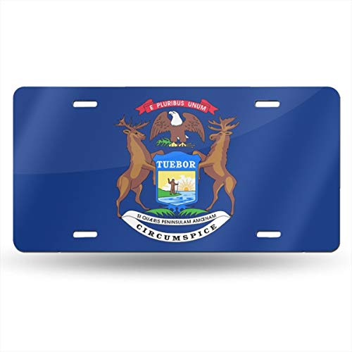 Charm Trend Michigan State Sign Flag License Plate, High Gloss Aluminum Novelty Plate Tags, 5.9 L X 11.8 W Inches