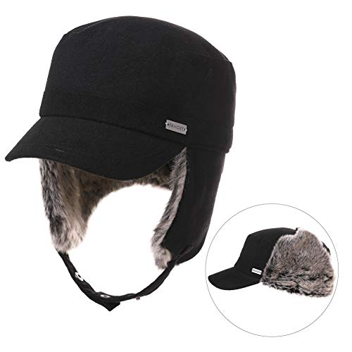 Fancet Womens Earflap Army Military Winter Hunting Trapper Hat for Men Baseball Cap Cadet Corps Black 56-58cm