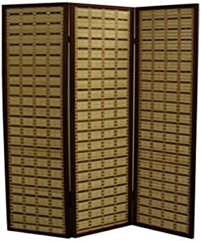 Espresso//Brown Paper Straw Weave Ore International FW0676ZB 4-Panel Screen Room Divider on 2-Inch Leg
