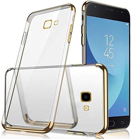 Uposao Kompatibel mit Samsung Galaxy J4 Plus 2018 Schutzhülle Transparent Weiche Silikon Handyhülle Überzug Farbig Rahmen Silikon Hülle Liquid Crystal Clear Durchsichtige TPU Bumper Case,Schwarz