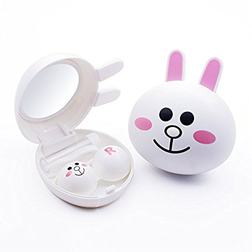 LUVIA Cute Rabbit Popular Mini Contact Lens Case Box   Travel Kit Easy Carry Mirror Container (White)