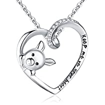 BriLove Women 925 Sterling Silver Cubic Zirconia EngravedKeep Me in Your Heart Cute Pig Pendant NecklaceClear
