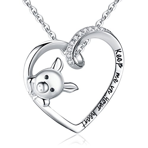 - BriLove 925 Sterling Silver Pig Pendant Necklace Open Heart Engraved