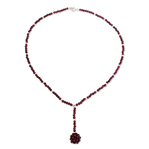 NOVICA Garnet .925 Sterling Silver Beaded Necklace, 17