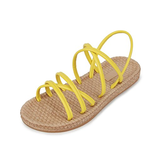Xmansky Damen Solide Flache Schuhe Bandagen Böhmen Freizeit Sandalen Hausschuhe Schuhe Gelb
