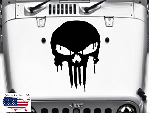 PUNISHER SKULL Hood Vinyl Decal Car Truck Van 22
