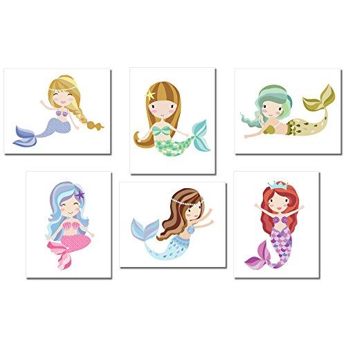 Mermaid Wall Art Prints, White