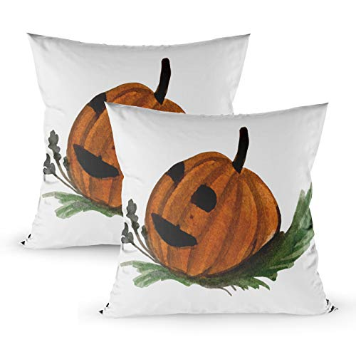 Musesh Watercolor Pilloe Cases, Pack of 2 Halloween Watercolor Pumpkin with Jack Face Grass The Element and Funny Fit Into The Design of for Sofa Home Decorative Pillowcase 18X18Inch Pillow Covers