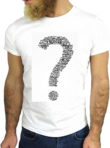 T SHIRT JODE Z1475 QUESTION MARK ? WORDS LIFESTYLE FUNNY COOL FASHION NICE GGG24 BIANCA - WHITE M