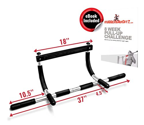 RubberBanditz Hanging Removable Pull Up Bar for Doorway or Door Frame - Perfect for Home Exercise Equipment - Best for Pull-Up, Chinning, and Chin-Ups - Resistance Band Optimized - Free eBook Included by Rubberbanditz