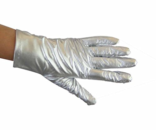 Metallic Wrist Length Gloves Greatlookz Colors: Silver
