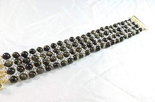Handmade Golden Obsidian with Clear Swarovski Crystal Stitched Bracelet (Right Angle Weave)