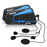 LEXIN 2pcs LX-B4FM Motorcycle Bluetooth Intercom with FM Radio, Motorcycle Helmet Bluetooth Headset Communication With Noise Cancellation Technology Up to 4 Riders 1600m Range for Motorcycle Off-Road