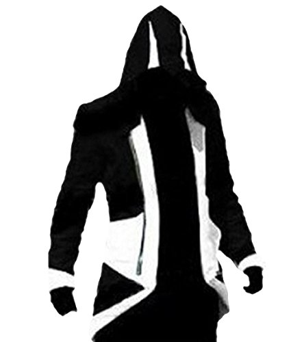 TEENTAGE Men's Costume Hoodie Jacket Cosplay Coat with Attachable Hood,Black and White,Men-Medium]()