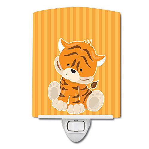 Caroline's Treasures Tiger Ceramic Night Light, Orange, 6