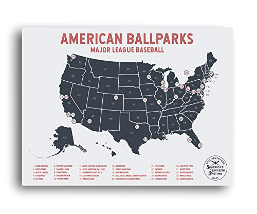 Epic Adventure Maps Major League Baseball Travel Map - Mark Your Travels to Your Favorite MLB Baseball stadiums - Great Gift for Dad or Graduation Gift
