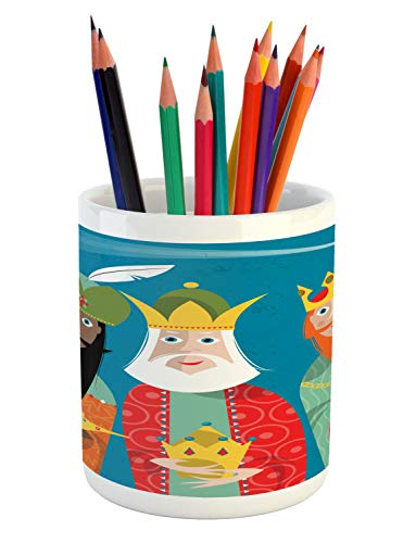 Ambesonne Religious Pencil Pen Holder, Three Wise Men in Traditional Costumes Vintage Christmas Holiday Illustration, Printed Ceramic Pencil Pen Holder for Desk Office Accessory, Multicolor