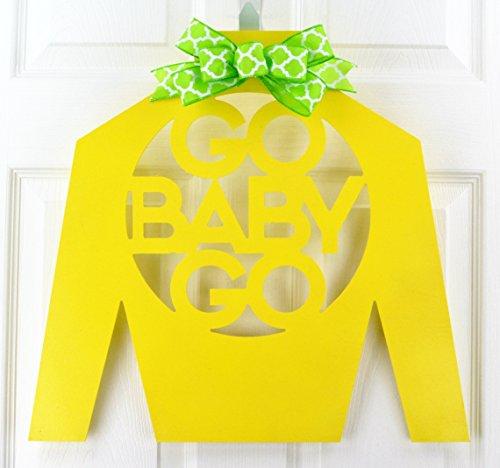 Kentucky Derby Jockey Silks - Kentucky Derby Party | Jockey Silk Go Baby Go Wooden Door Hanger with Bow | MANY COLORS