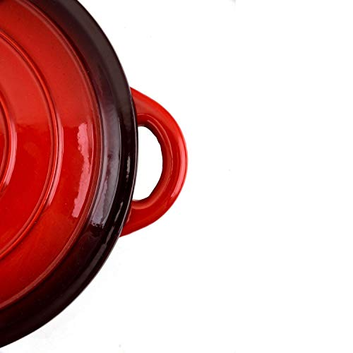 Hamilton Beach 5.5 Quart Red Enamel Cast Iron Dutch Oven & 10'' Frying Pan w/Lid by Hamilton Beach (Image #7)