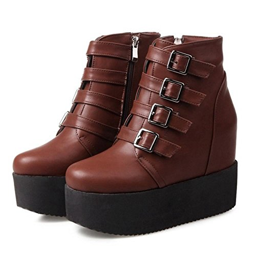 COOLCEPT Damen Mode Stiefel Zipper Dark-Brown
