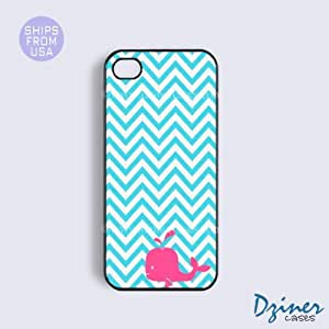 iPhone 5 5s Case - Blue Chevron Pink Whale iPhone Cover