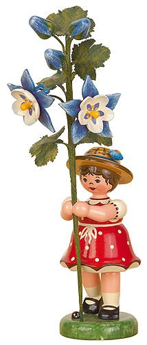 Small Figures & Ornaments Flower child girl with Columbine - 17cm / 7inch - Hubrig Volkskunst