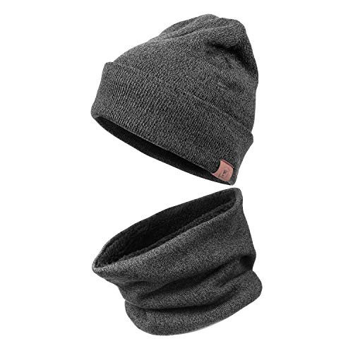 4670e3fd75c OZERO Winter Knit Beanie Hat -Thermal Neck Warmer 2 in 1 Cold Proof Set for