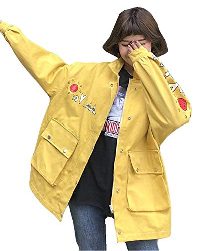 Outerwear Cappotto Giubbino College Bianca Giacca Donna Maniche Lunghe Button Relaxed Tendenza Libero Eleganti Stampato Con Giovane Fashion Women Tempo Tasche Autunno nxWTUx