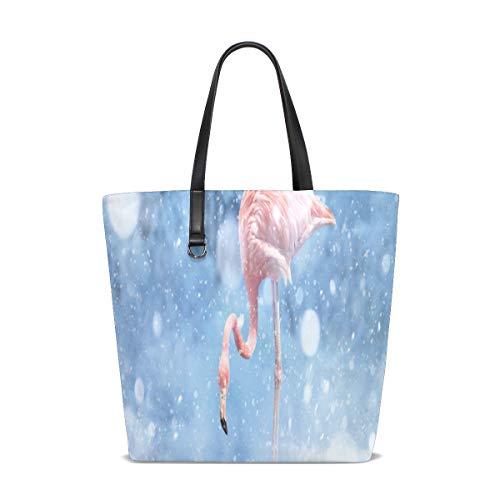 - Flamingos The Snow Tote Bag Purse Handbag Womens Gym Yoga Bags for Girls