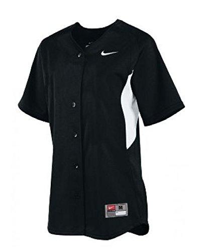 (Nike Women's Stock Full Button Softball Jersey (X-Large, Black/White))