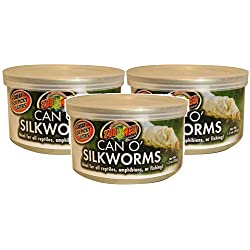 Zoo Med 3 Pack of Can O' Silkworms, 1.2 Ounces Per Can