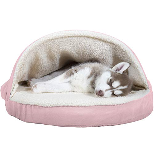 (Furhaven Pet Dog Bed   Orthopedic Round Cuddle Nest Faux Sheepskin Snuggery Burrow Pet Bed for Dogs & Cats, Pink,)