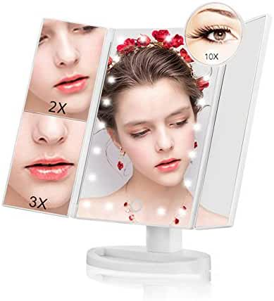 Led Lighted Vanity Makeup Mirror - NaCot 1X/2X/3X/10X Magnification for Portable High Definition
