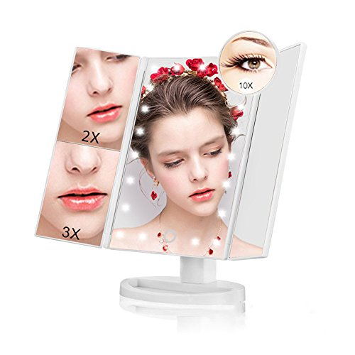 Led Lighted Vanity Makeup Mirror - NaCot 10X/3X/2X/1X Magnification Vanity Mirror Trifold 21 Led Lighted with Touch Screen for Countertop Cosmetic Makeup