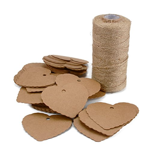 Kraft Paper Gift Tags 100PCS Paper Price Tags Blank Label Brown Paper Tags with 328 Feet Natural Jute Twine for Arts and Crafts (Heart Shape Paper (Punched Shape)