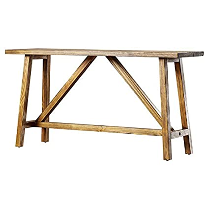 Console Table The Sawhorse Leg Design Paired With The Beautiful Finish Of  This Console Table Gives