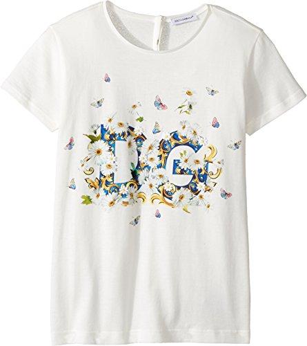 Dolce & Gabbana Kids Girl's Caltagirone Floral Print T-Shirt (Big Kids) White 12 (Big Kids) by Dolce & Gabbana