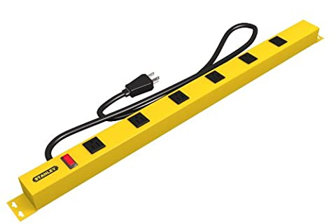 Stanley 31613 Pro6 Metal Power Bar, Black/Yellow, 1-Pack - Outlet Metal Power Strip