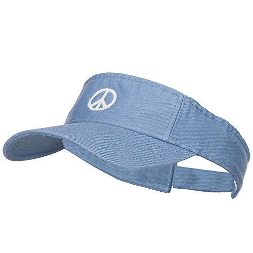 E4hats Peace Symbol Embroidered Washed Visor - Lt Blue OSFM (Cotton Embroidered Visor)