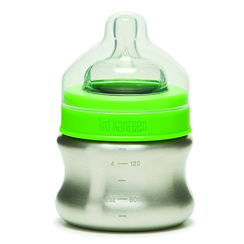 Klean Kanteen Kid Kanteen Stainless Steel Baby Bottle with Slow-Flow Silicone Nipple (5-Ounce)